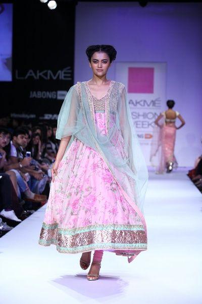 Anushree Reddy floral print anarkali, mint and pink,Anushree Reddy