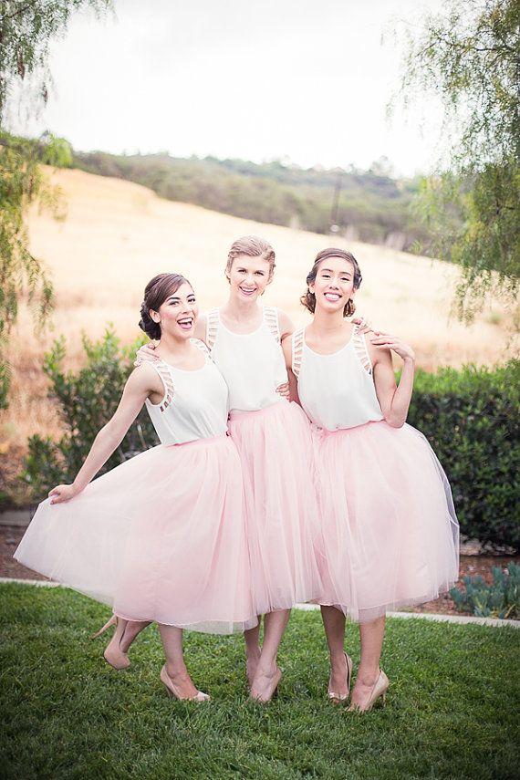Tulle Skirt Extra Full Blush Pink Chic And Modern Tutu Reception Dress Bridesmaid Dresses Pinterest