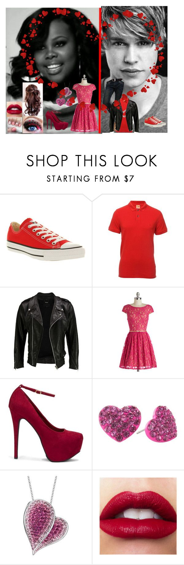 """""""Glee: Valentin's Day:Mercedes and Sam"""" by glee2shake ❤ liked on Polyvore featuring Riley, SAM., Converse, BOSS Orange, VIPARO, JustFab and Reeds Jewelers"""