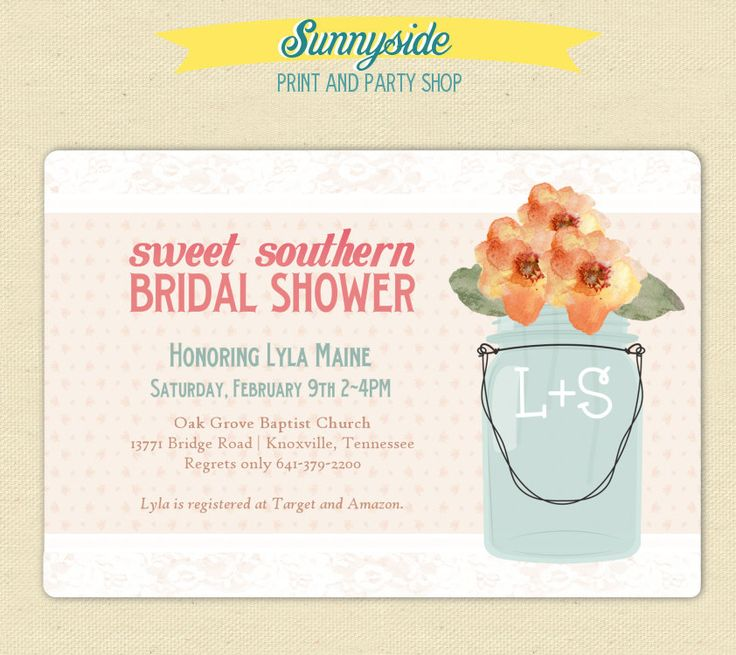 Sweet Southern Bridal Shower / Old Fashioned Party Invite - Mason Jar. $15.00, via Etsy.