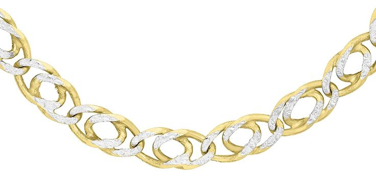 Carissima Gold 9 ct 2 Colour Gold Double Curb Chain of 46cm/18""