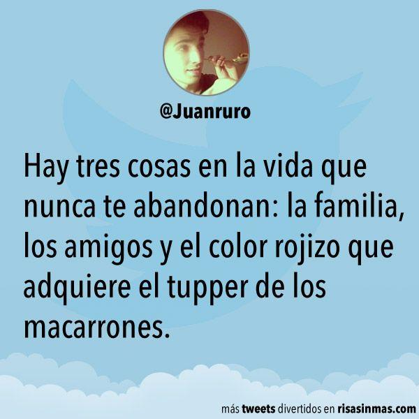Hay tres cosas en la vida que nunca te abandonan: la familia, los amigos y el color rojizo que adquiere el tupper de los macarrones.