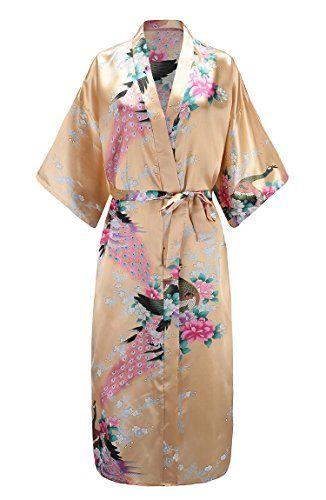 3848176e304 EPLAZA Women Peacock Satin Long Bridal Kimono Robe Bridesmaid Sleepwear  Wedding Dressing Gown