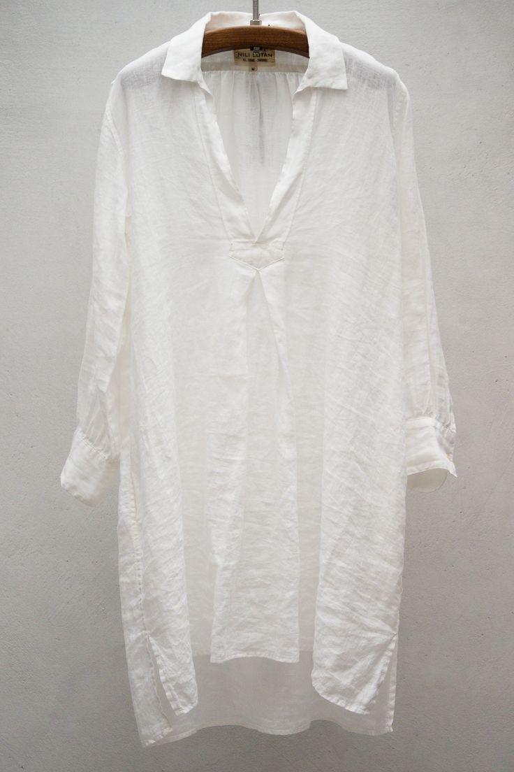 St Tropez Dress — White hankie linen.