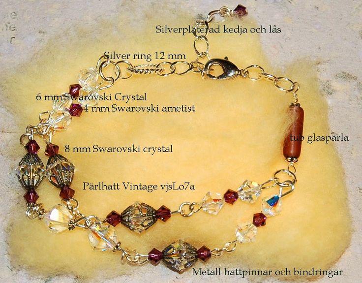 Armband med Swarovski pärlor och Vintage pärlhattar
