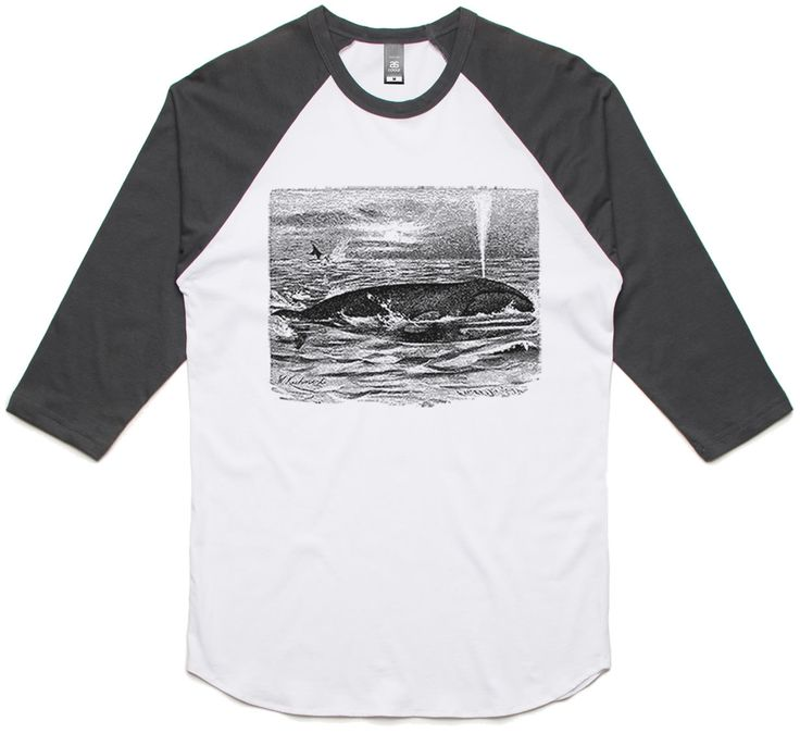 theIndie Whales in the Sea (Black) 3/4-Sleeve Raglan Baseball T-Shirt