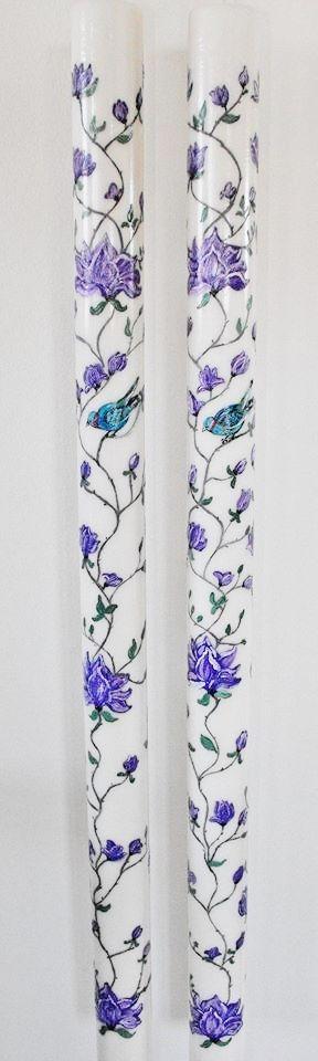 Lumanari de cununie,80 cm lungime,diametrul 4,5 cm,pictate in intregime cu flori de magnolii.