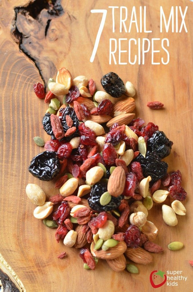 Nuts, seeds, and dried fruit are all you need for typical trail mix recipes. Trail mix is a super snack for kids! Nuts and seeds provide heart healthy fats, vitamin E, copper, manganese, and zinc. The
