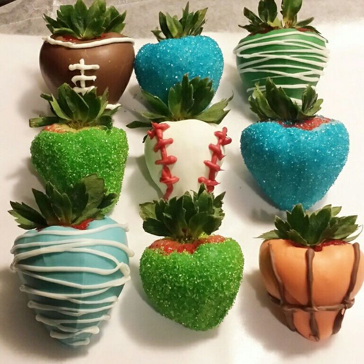 Sports themed chocolate covered strawberries.