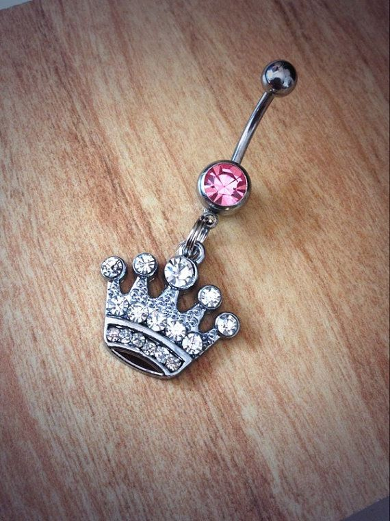 Rhinestone Crown Belly Ring queen belly by CountryOutlawDesigns