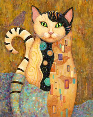 """Audubon"" ~ (Klimt-inspired?) painting by Marjorie Sarnat blog"