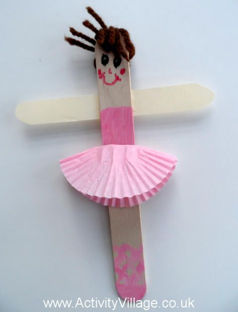 So You Think You Can Dance - Popsicle Stick Ballerina with yarn hair and cupcake paper skirt (provide gender-neutral examples as well)