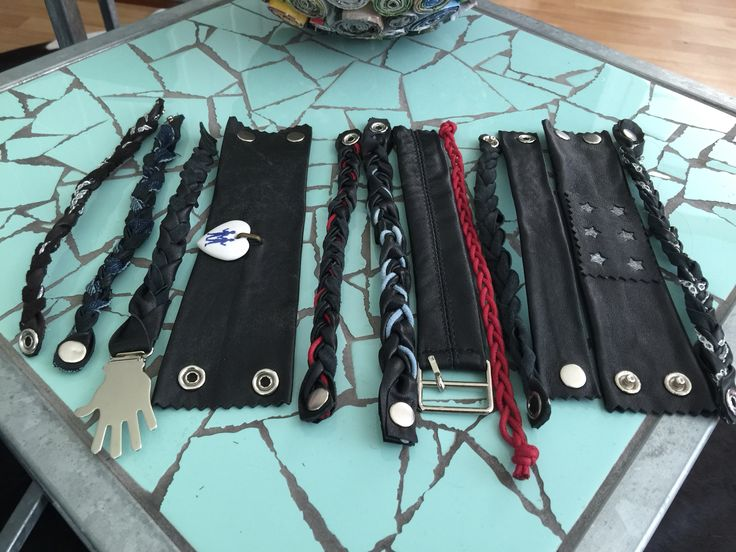 Bracelets made from an old leather coat.