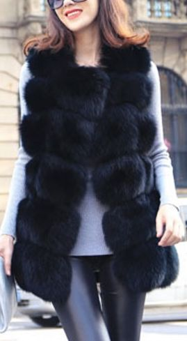 Queening with the Finest Faux Fur Vest - Black