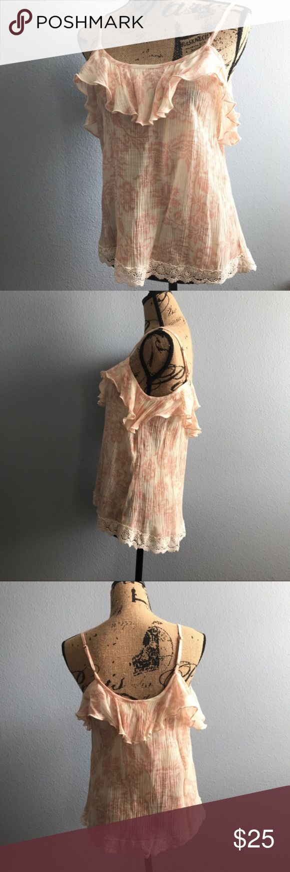 """Sun & Shadow Cold Shoulder Top Sun & Shadow Cold Shoulder Tank, Ivory and Blush Floral top, Size Medium, adjustable straps, EUC-Like New, smoke free home.   Measurements are approx.  Length: 24""""  Chest: 30"""" Sun & Shadow Tops Blouses"""