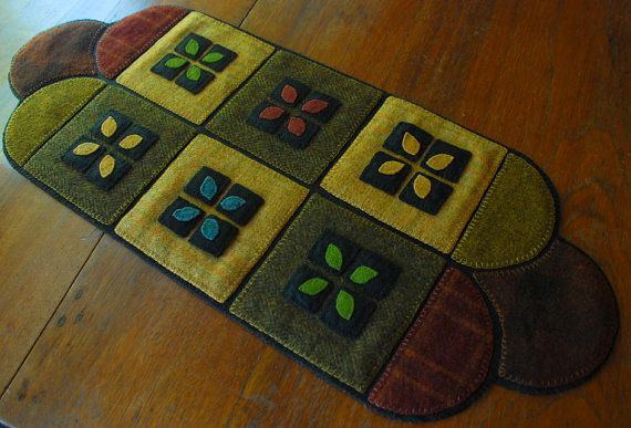 Wool applique table runner quilt block primitive folk art candle mat penny rug hand dyed felted hooking wool