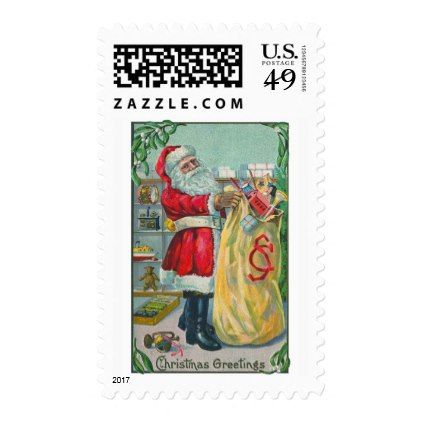 #Vintage Christmas Victorian Santa Claus with Toys Postage - #Xmas #ChristmasEve Christmas Eve #Christmas #merry #xmas #family #kids #gifts #holidays #Santa
