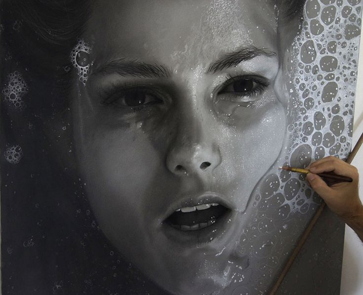 Dirk Dzimirsky's Photorealistic Art Expresses His Concern with Water Torture. http://illusion.scene360.com/art/85590/dirk-dzimirsky/ #hyperrealistic #drawing