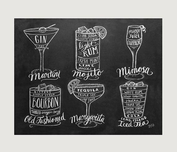 Guide zu Cocktails Print - Bar Cart Kunst-Tafel-Kunst - Küche - Barkeeper Geschenk - Kreide Kunst