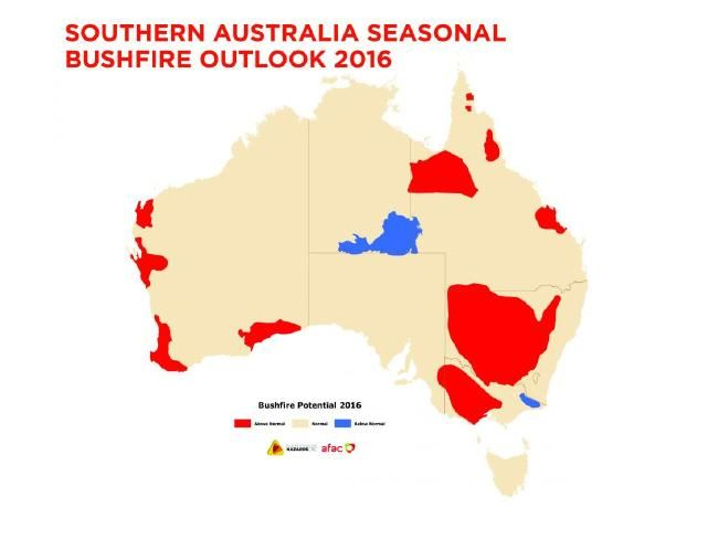 A scary map showing the bushfire threat in Australian states. Picture: BNHCRC