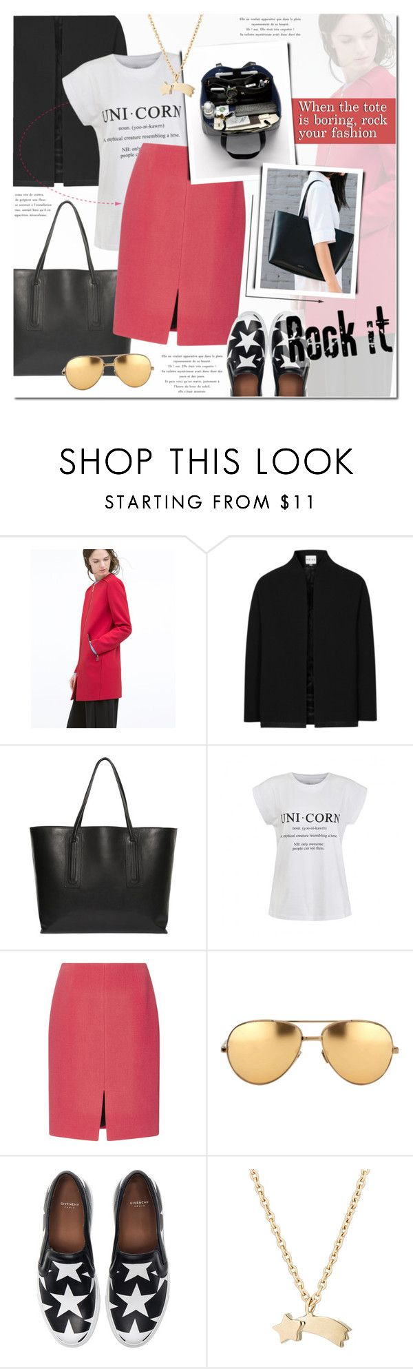 """Tote Bags"" by anna-anica ❤ liked on Polyvore featuring moda, Zara, Reiss, Rick Owens, Ally Fashion, Sonia Rykiel, Linda Farrow, Givenchy, Minor Obsessions e women's clothing"