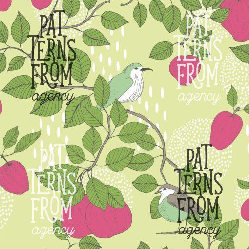 Garden – Apple tree by Noora Hattunen  #patternsfromagency #patternsfromfinland #pattern #patterndesign #surfacedesign #printdesign #noorahattunen