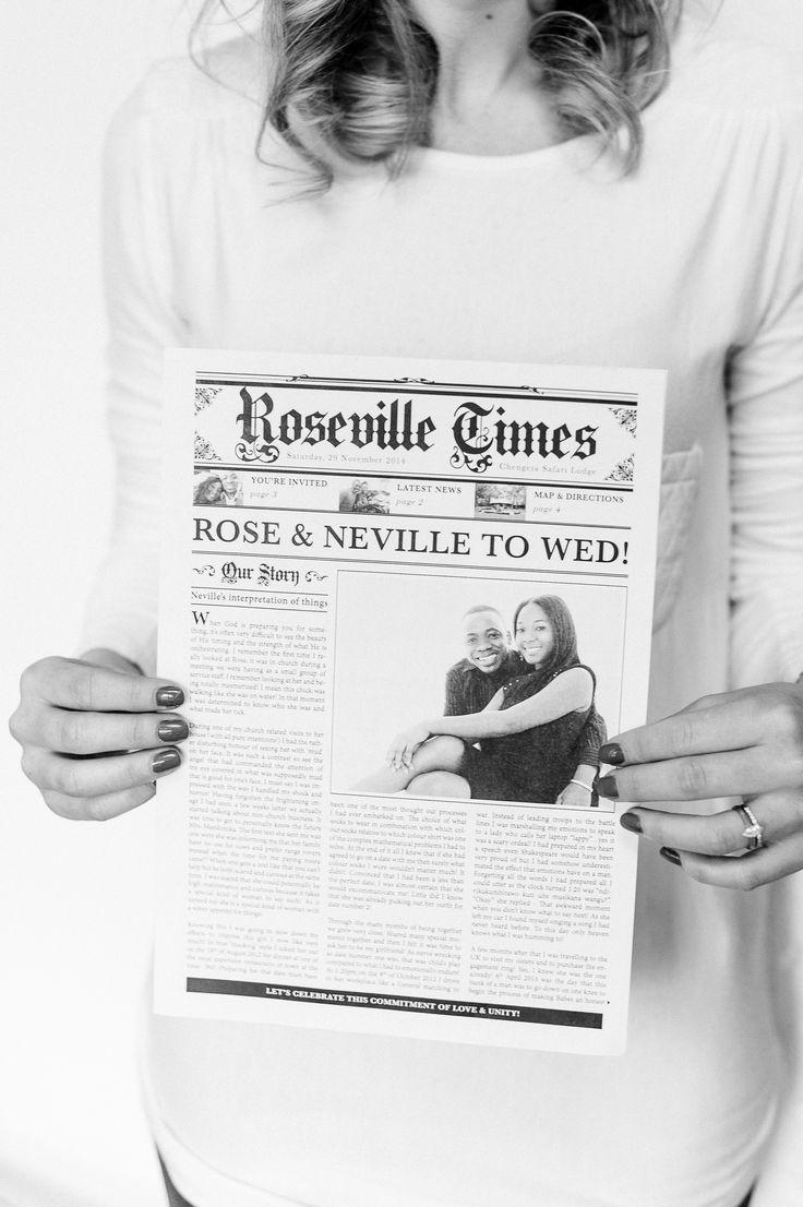 Newspaper wedding invitation www.creativeheroes.co.za