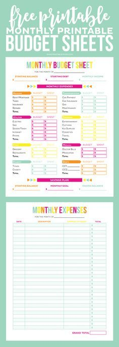 150 best Budget Printables - Free! images on Pinterest Budget - Free Budget Form