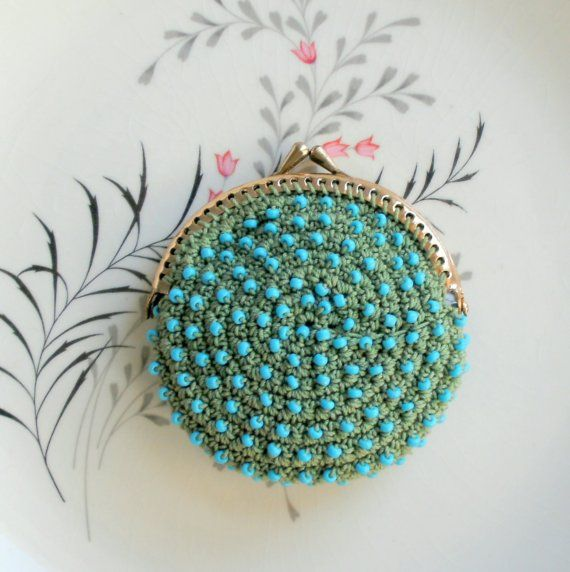 Little Sage Green Crochet Coin Purse with Pale Blue by pinguim