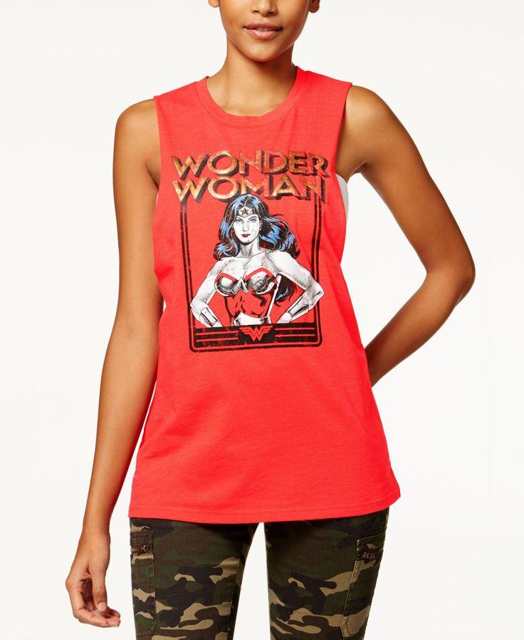 Warner Bros Juniors' Wonder Woman Graphic Muscle Tank Top by Bioworld