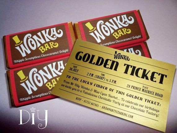 Willy Wonka invitations Wonka Bar \ Golden Ticket invitation Willy - ticket invitation