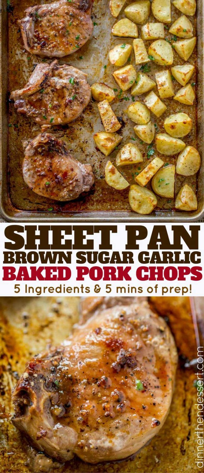 Oven Baked Pork Chops covered in brown sugar and garlic made on a sheet pan with yukon potatoes. One pan, almost no cleanup and the whole family will love them.