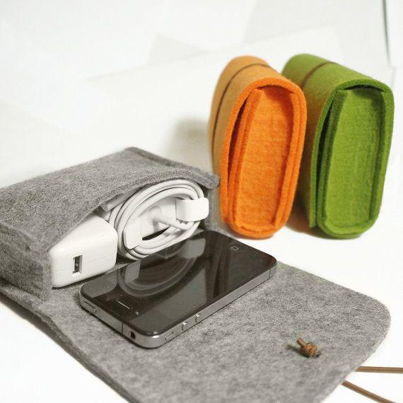 Wool Felt Case Pouch, Camera Case, Cosmetic Bag,Felt Bag-Grey Green Orange-D410
