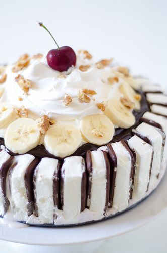 Banana Split Ice Cream Cake.  Your guests will be thoroughly impressed!!