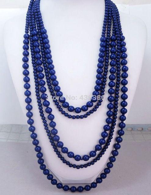 Темно-Синий Ожерелье, пять Слоистых Ожерелье, воротник Заявление Ожерелье Из Бисера