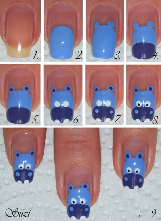 DIY Hippo Nail Art: Nails Art Tutorials, Hippo Nails, Nails Design, Diy Crafts, Photo Tutorial, Nails Ideas, Animal Nails Art, Nails Art Design, Nails Tutorials