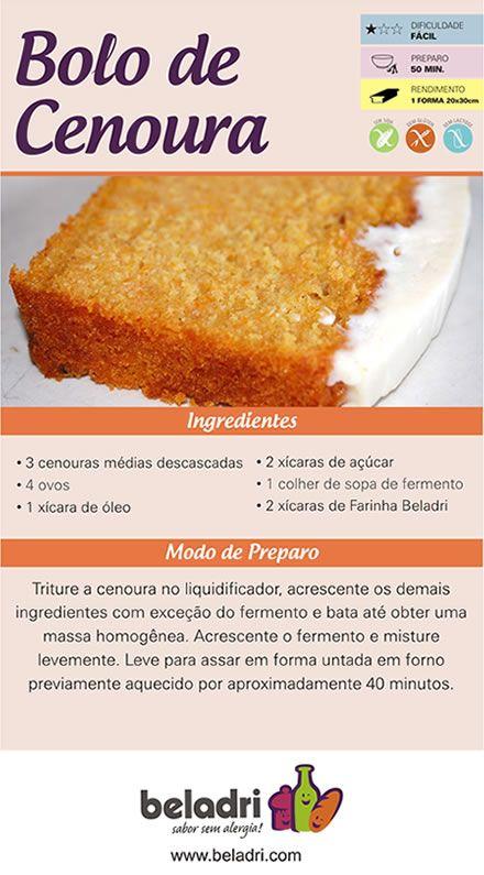Receita de Bolo de Cenoura sem Glúten e sem Leite/Lactose! Farinha sem Glúten Beladri é aqui no Empório Ecco. Confira: https://www.emporioecco.com.br/farinha-sem-gluten-beladri