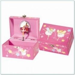 Muziekdoosje Fairy Dust twee ballerina's roze. Een mooi roze sieraden schatkistje met bloemetjes en dansend elfen meisje in roze jurk. Zodra de muziekdoos open gaat danst er een mooie ballerina voor een spiegeltje.