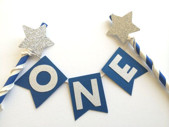 Royal Blue Cake Bunting Banner with Silver Glitter Star.  1st Birthday Cake.  Smash Cake.  Cake Decor.  Princess Party