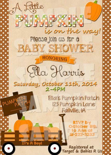 Printable Pumpkin Baby Shower Invitation - Fall Baby Shower Invitation - Forever Fab Boutique