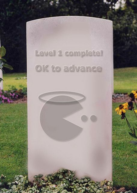 Funny Tombstones  Video Gamers, Level 2 Complete,  Ok to Advance, angel halo over paceman,