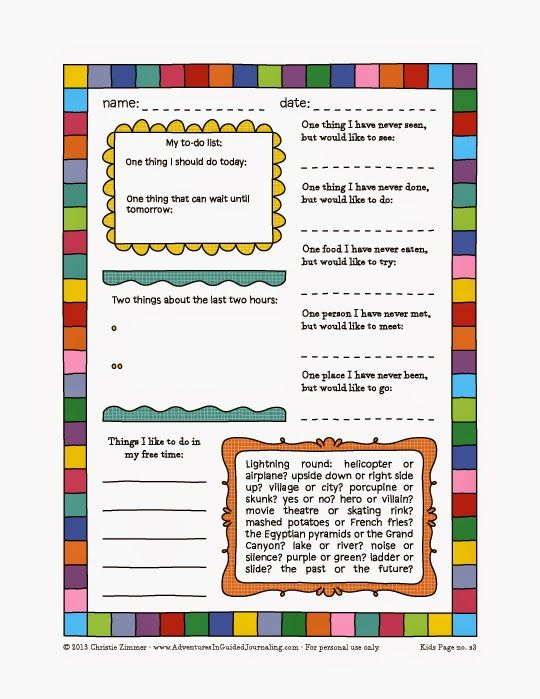 Guided Journal Pages For Kids Free Printable Pages With