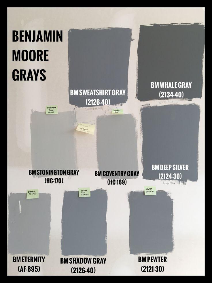 Benjamin Moore Gray Paint Swatches. BM Sweatshirt Gray (2125-40). BM Whale Gray (2134-40). BM Stonington Gray (HC-170). BM Coventry Gray (HC-169). BM Deep Silver (2134-30). BM Eternity (AF-695). BM Shadow Gray (2126-40). BM Pewter (2121-30).