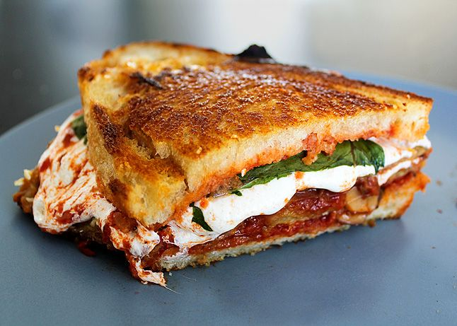 A grilled cheese sandwich version of an eggplant Parmesan, with fried eggplant, tomato sauce, and melty mozzarella. (with recipe this time!)