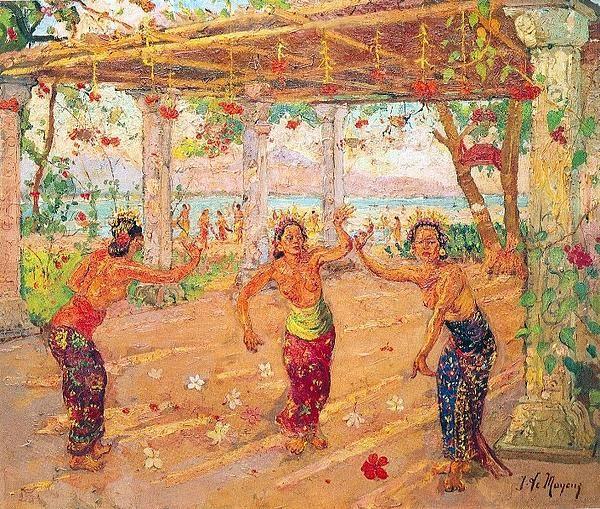 Adrien Jean Le Mayeur de Merprès - Tiga gadis Bali
