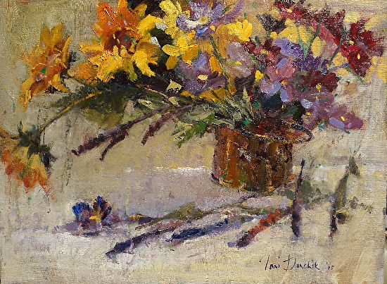 Still life with Sunflowers by Toni Danchik Oil ~ 11 x 14