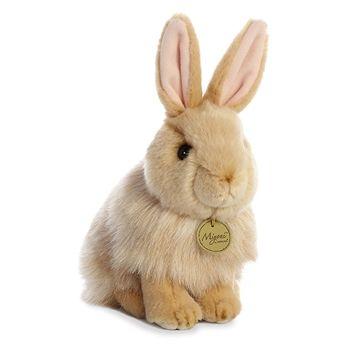 Realistic Stuffed Tan Angora Rabbit 9 Inch Miyoni Plush By Aurora