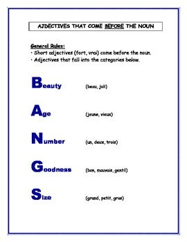 133 best images about French adjectives on Pinterest | List of ...
