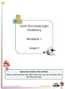 Grade 1 Dolch Primer and First Grade sight words workbook.
