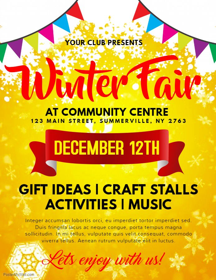 printable winter fair family and kids event flyer